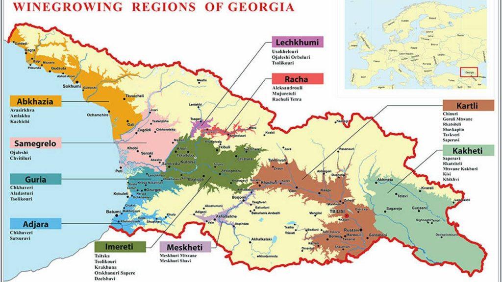 Карта выращивания винных сортов винограда в Грузии, Грузинское вино, Грузия