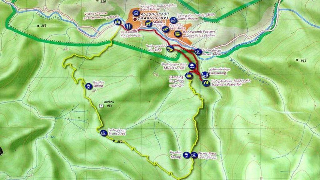 Карта туристических маршрутов в парке, Национальный парк Мтирала, Батуми, Грузия