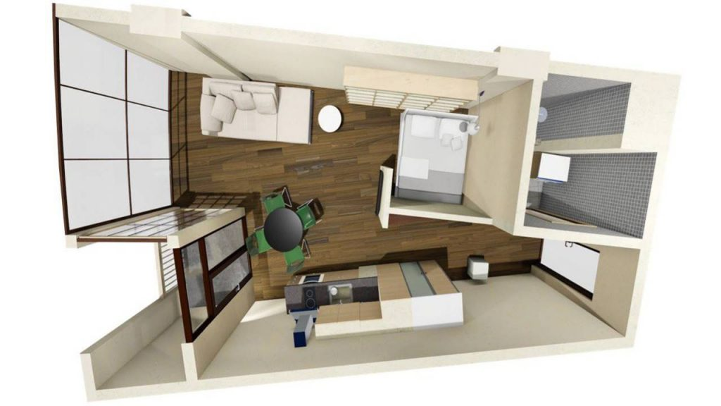 Возможная планировка Однокомнатной квартиры в Tropical Garden