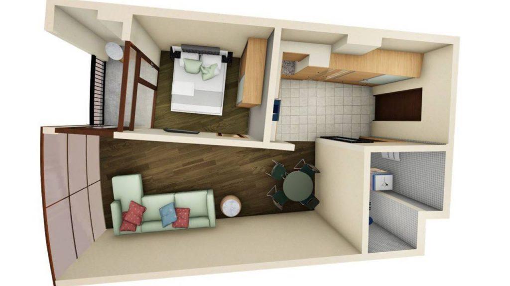 Возможная планировка Двухкомнатной квартиры в Tropical Garden