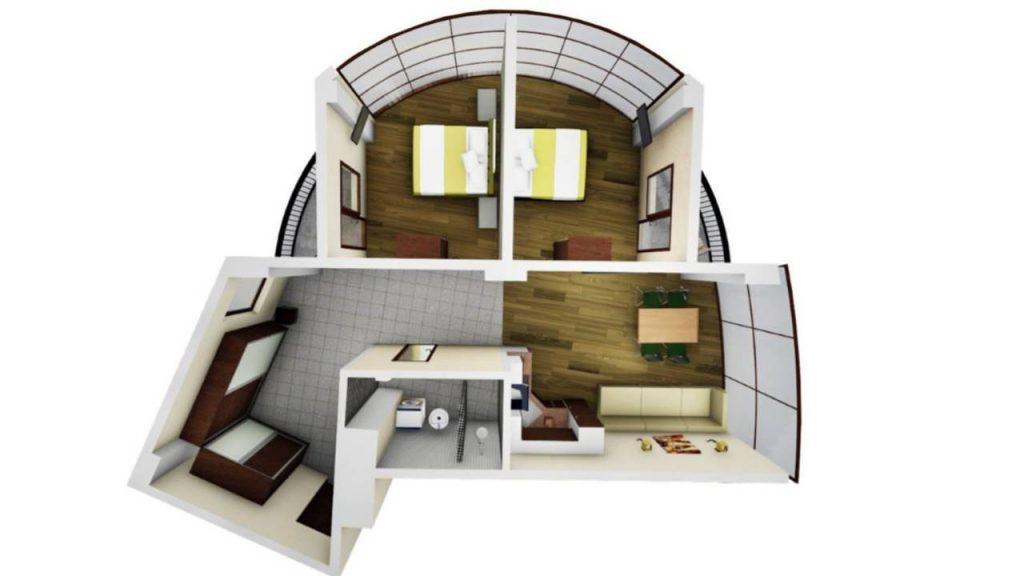 Возможная планировка Трехкомнатной квартиры в Tropical Garden